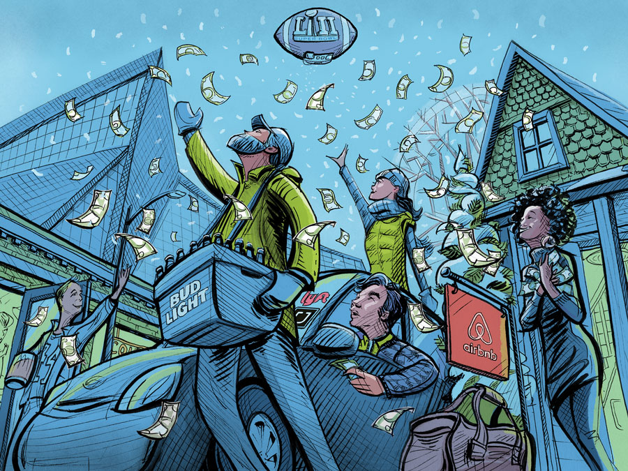 An illustration of people a man sitting in his car surrounded by a man carrying a tub of Bud Light and other fans as money falls from the sky outside of U.S. Bank Stadium.