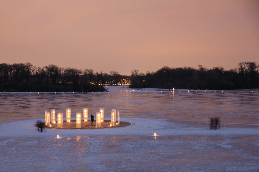 A lantern display on a frozen lake.
