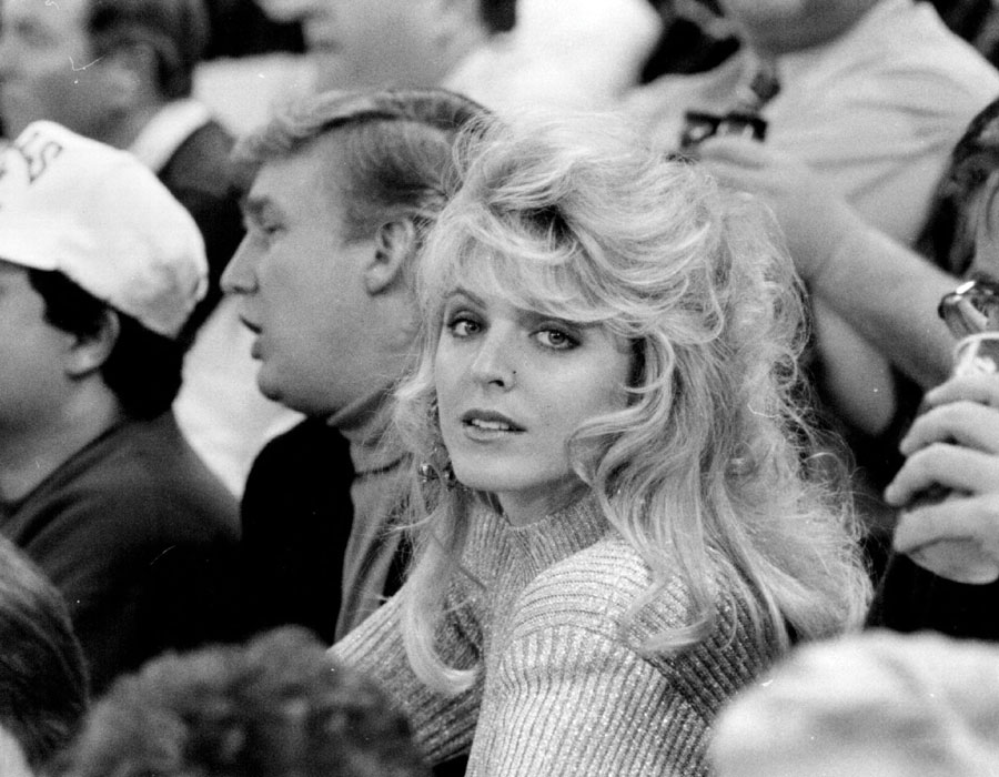 Donald Trump and girlfriend Marla Maples watching the 1992 Super Bowl.