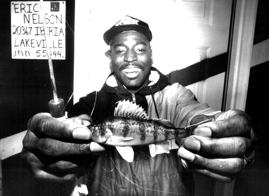 Washington running back Earnest Byner caught a perch while ice fishing near New Prague.