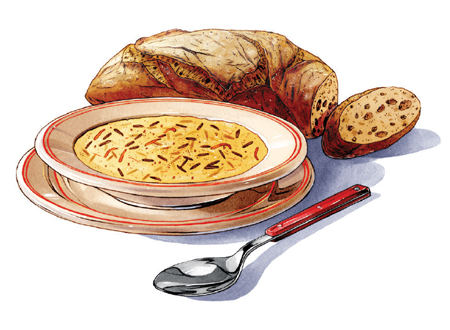 An illustration of the chicken wild rice soup at St. Paul Grill.