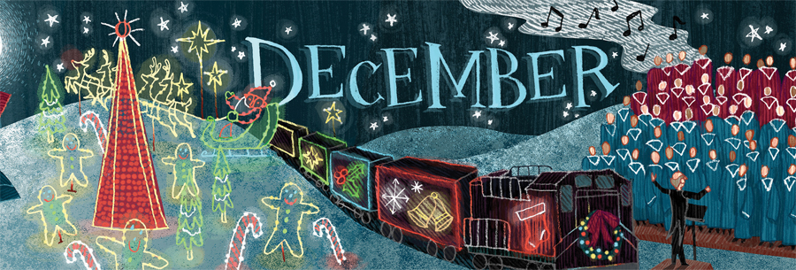 An illustration of a holiday train and lights.