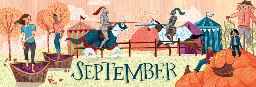 An illustration of two people squishing grapes and two knights jousting on horseback in the background.