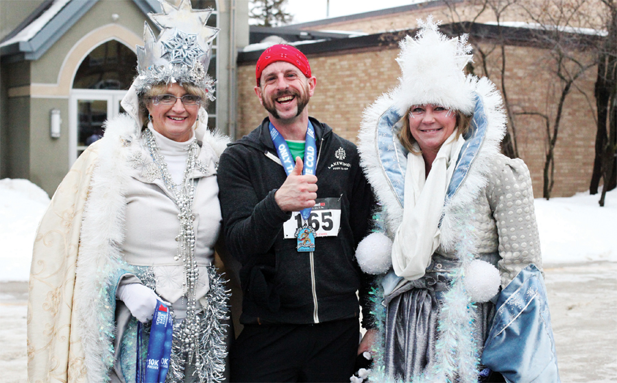 A Blizzard Run Finishers with the Frost Queens at International Falls' Ice Box Days.