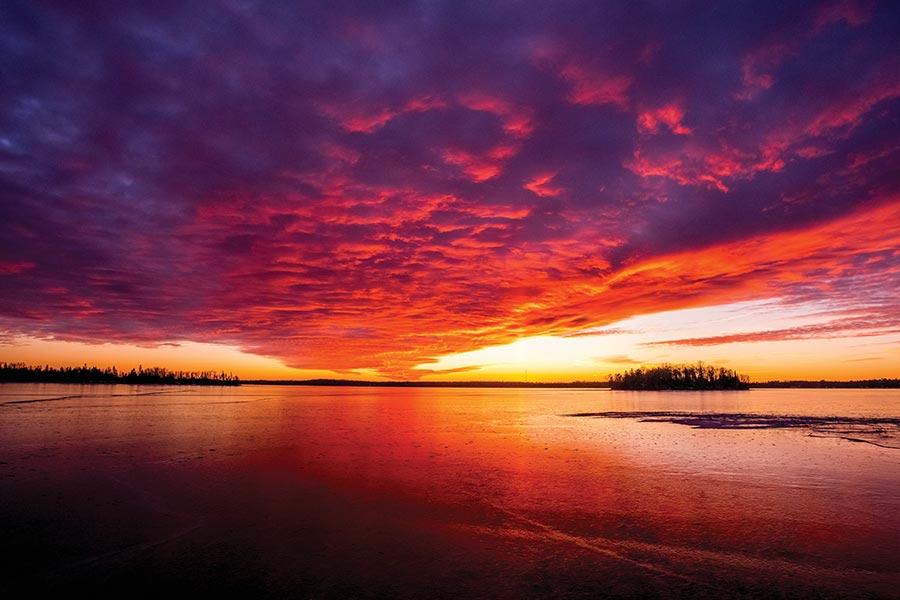 Turtle Lake at sunset in Bemidji, Minnesota.