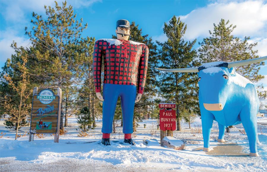 The Paul Bunyan and Babe the Big Blue Ox statues in Bemidji, Minnesota.