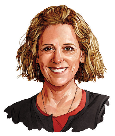 An illustrated portrait of Nancy Carlson.