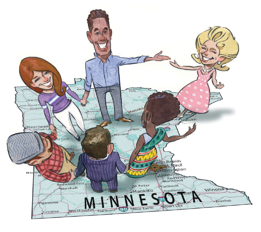 An illustration of a group of people standing in a circle and conversing on a giant map of Minnesota.