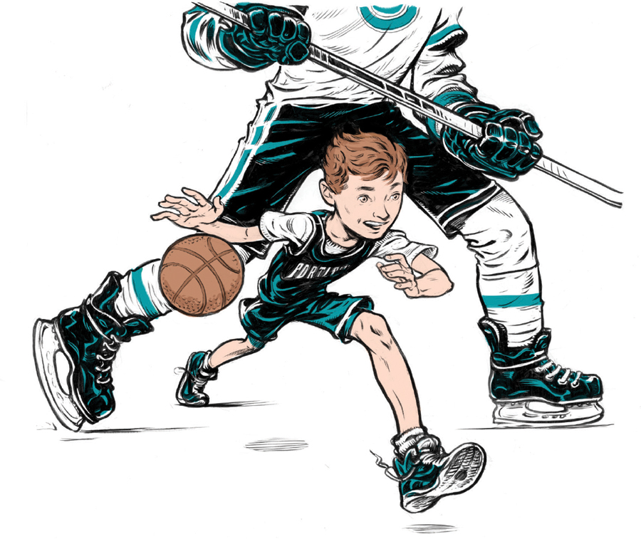 An illustration of a boy playing basketball with his dad behind him in hockey gear.