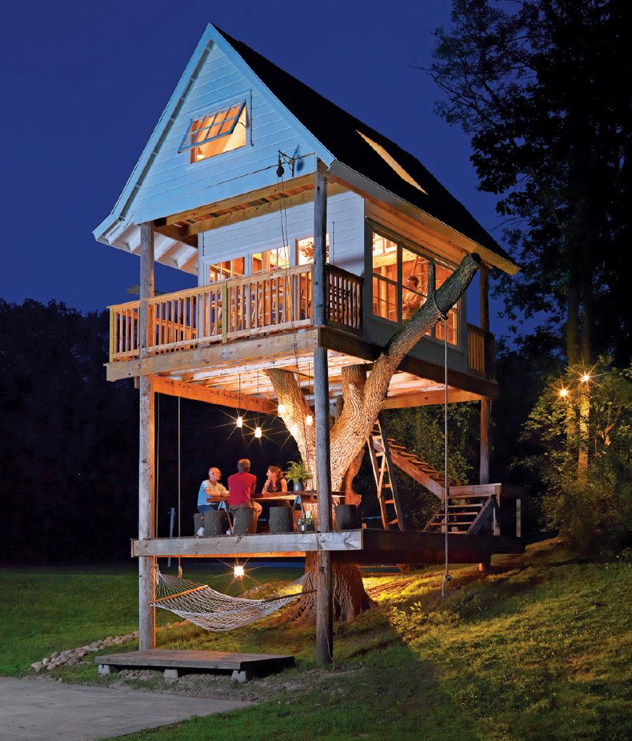A cabin at night at Camp Wandawega.