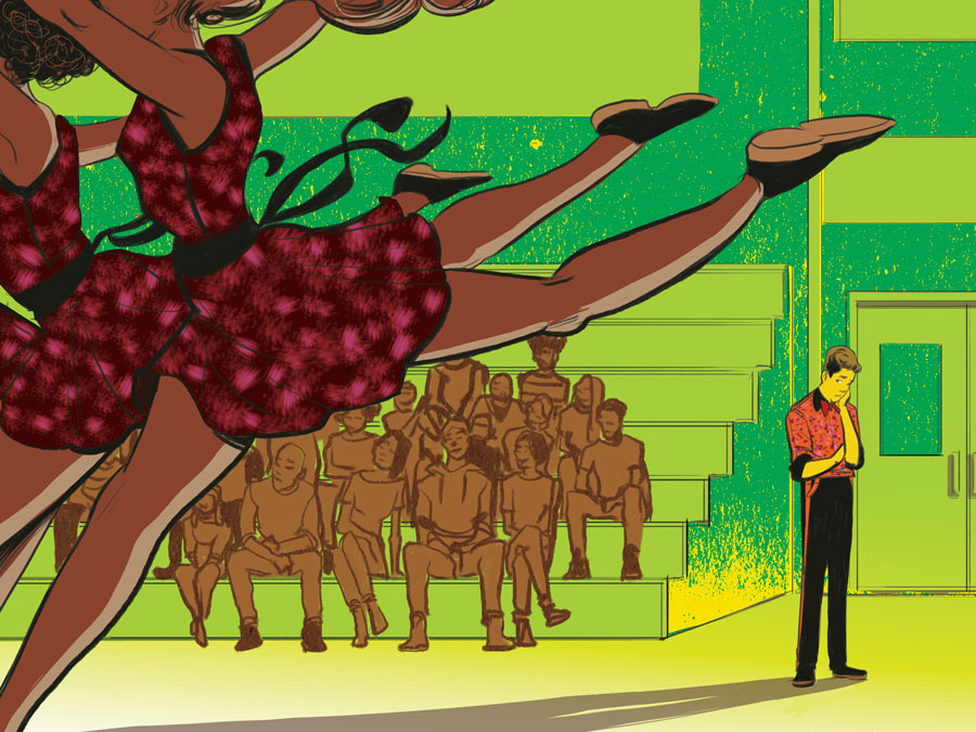 An illustration of a boy standing on the sidelines longing to dance with the rest of the group in front of an audience.