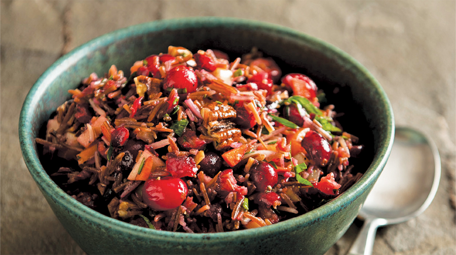 Wild rice pilaf with wild mushrooms, roasted chestnuts and dried cranberries.