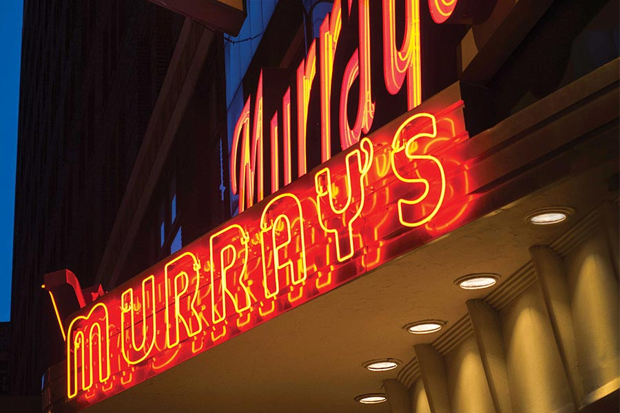 The neon sign for Murray's in downtown Minneapolis.