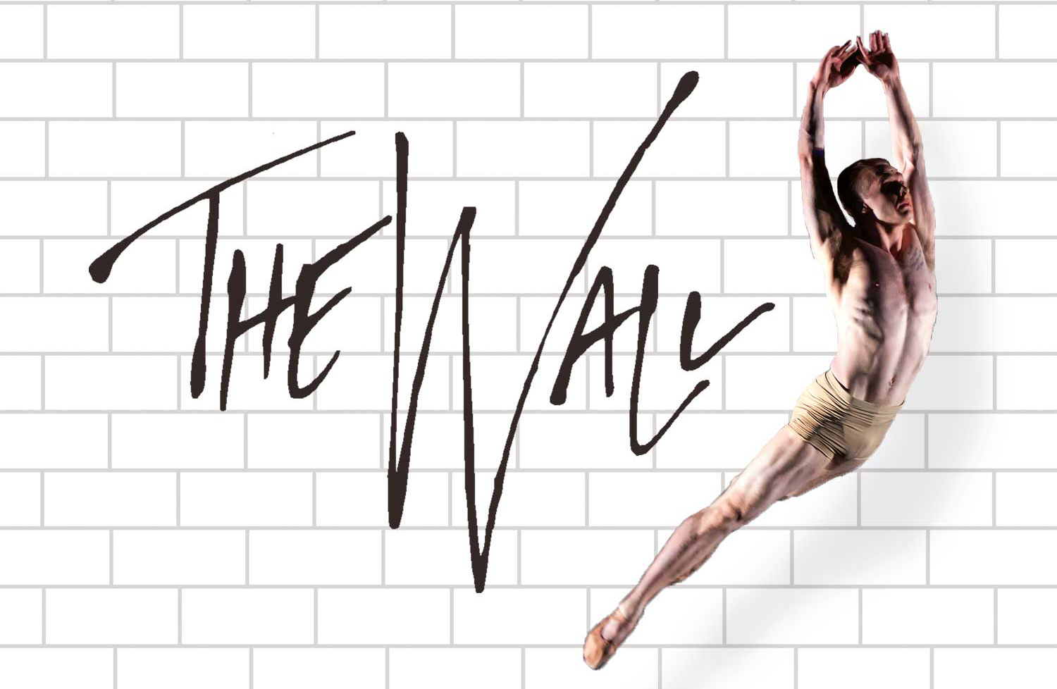 Photo by Brianne Bland. Luke Xavier in the role of pink leaps into the air in front of a white wall.