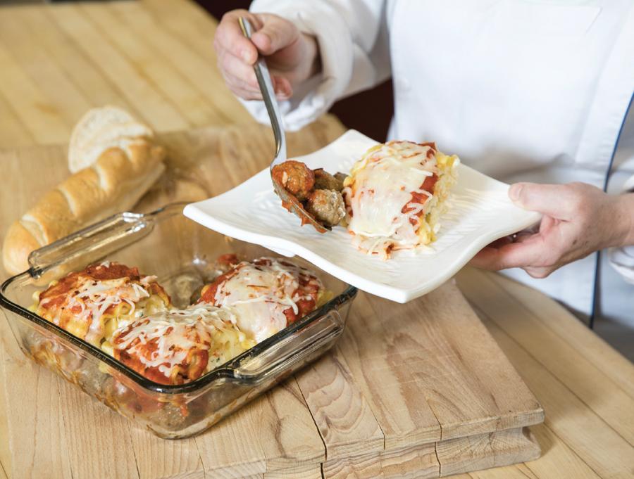 A Schwan's chef tests a frozen-food recipe.