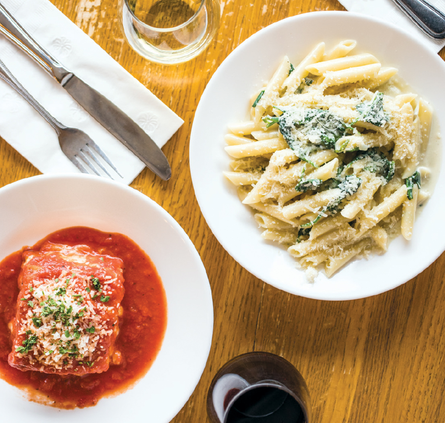 Lasagna siciliana and penne with gorgonzola at Broders' Cucina Italiana.