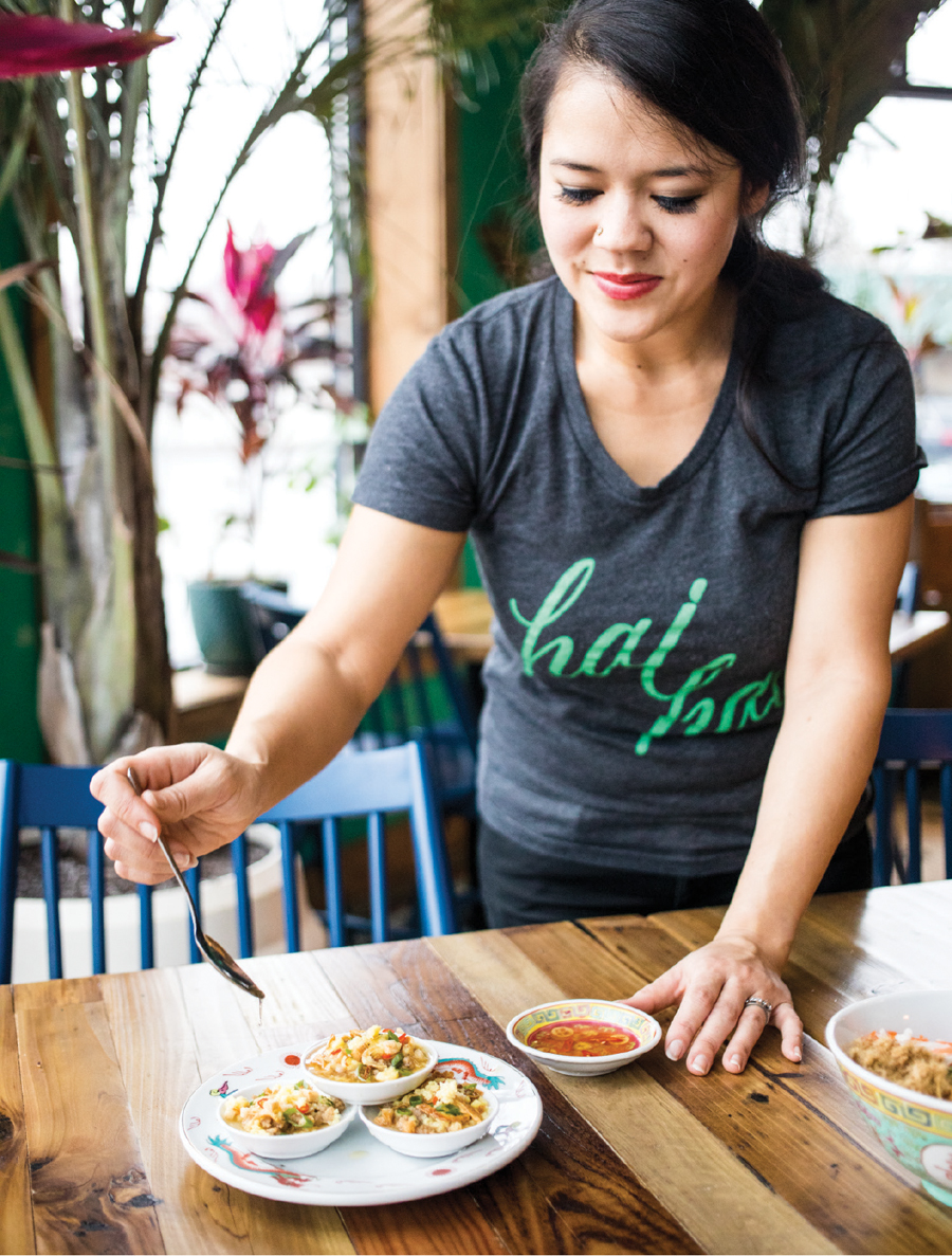 Christina Nguyen with Water Fern Cakes at Hai Hai.