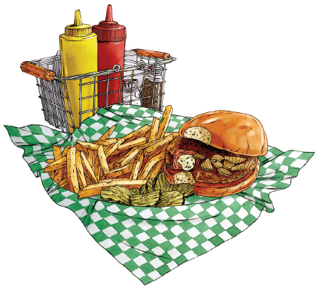 An illustration of the Paul Molitor Burger from The Nook.