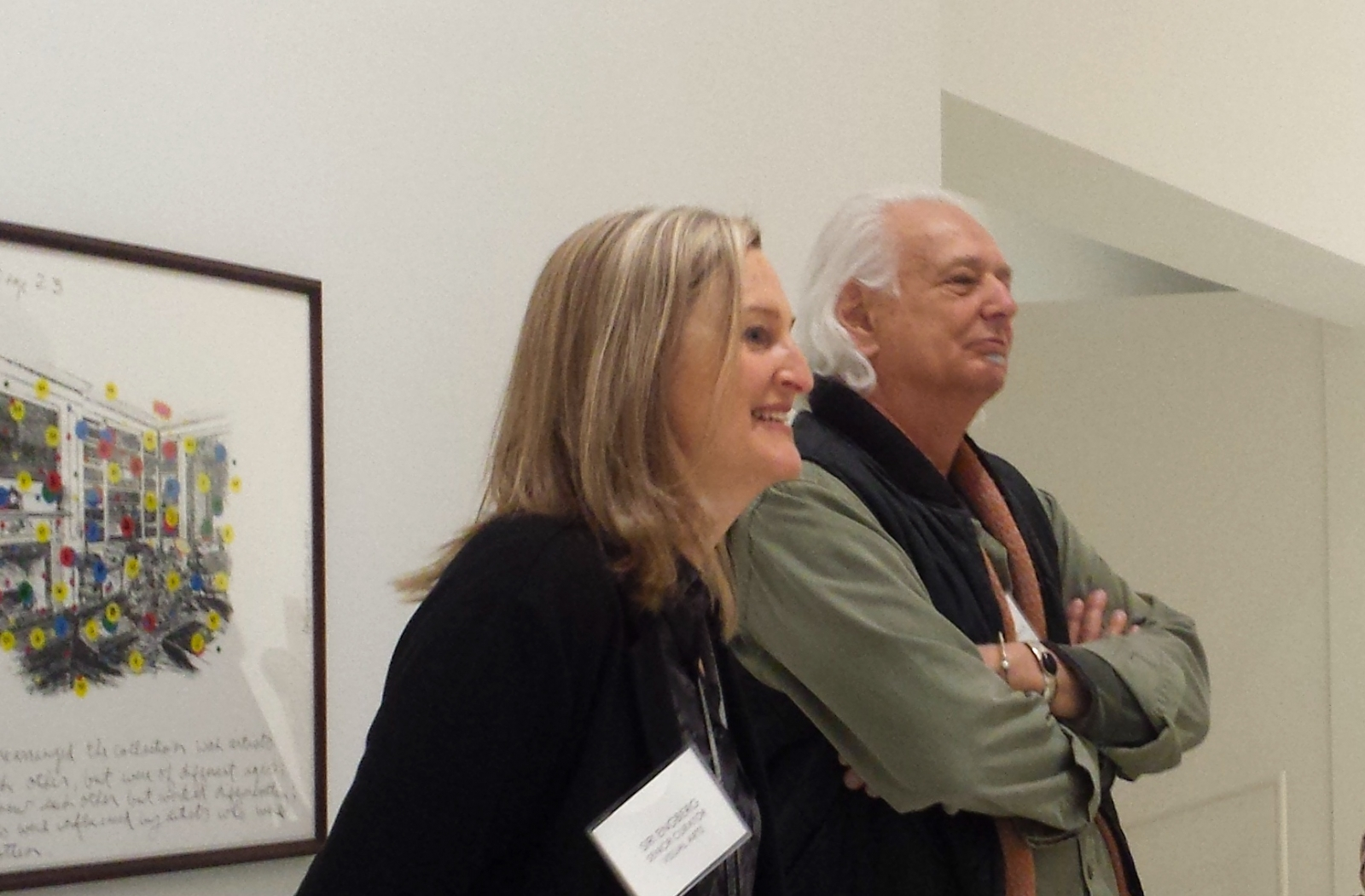 """Siri Engberg and Allen Ruppersberg at the Walker Art Center during the media preview of """"Intellectual Property."""""""