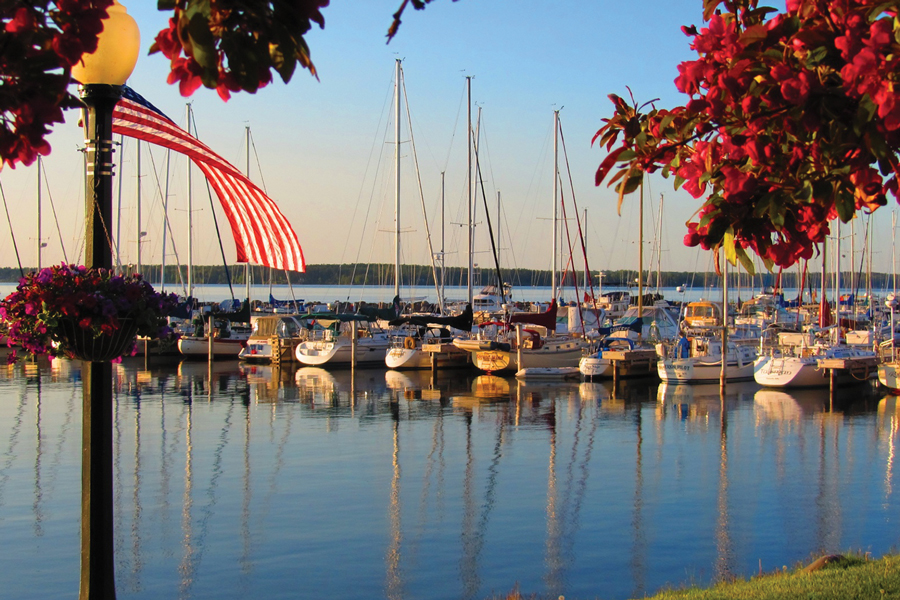 A marina filled with sail boats in Bayfield, Wisconsin.
