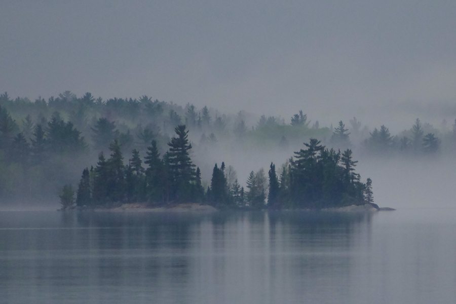 Fog over a lake in the Boundary Waters Canoe Area.