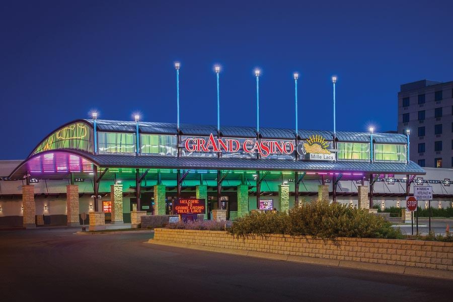 Grand Casino Mille Lacs at night.