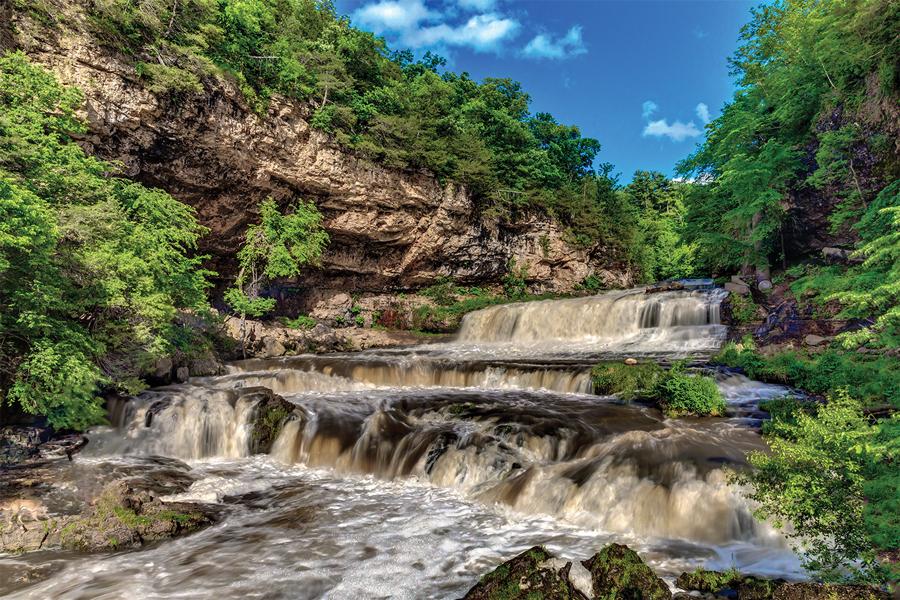 A waterfall in Hudson, Wisconsin.