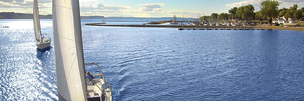 Sailboats on Lake Pepin.