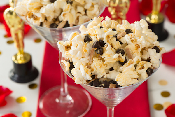 Red carpet popcorn matches the occasion with edible gold shimmer. Courtesy of the Popcorn Board.