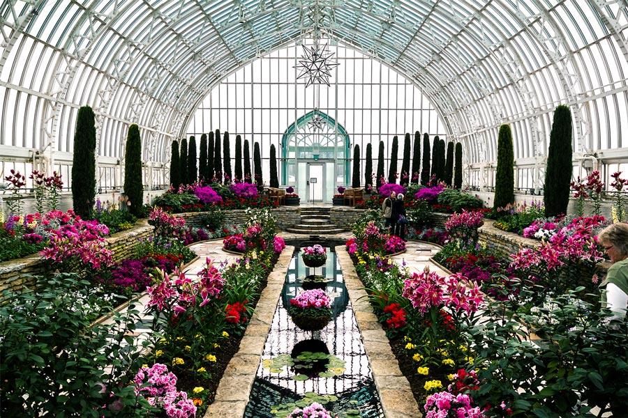 Sunken Garden at Marjorie McNeely Conservatory at Como Park in St. Paul, Minnesota.