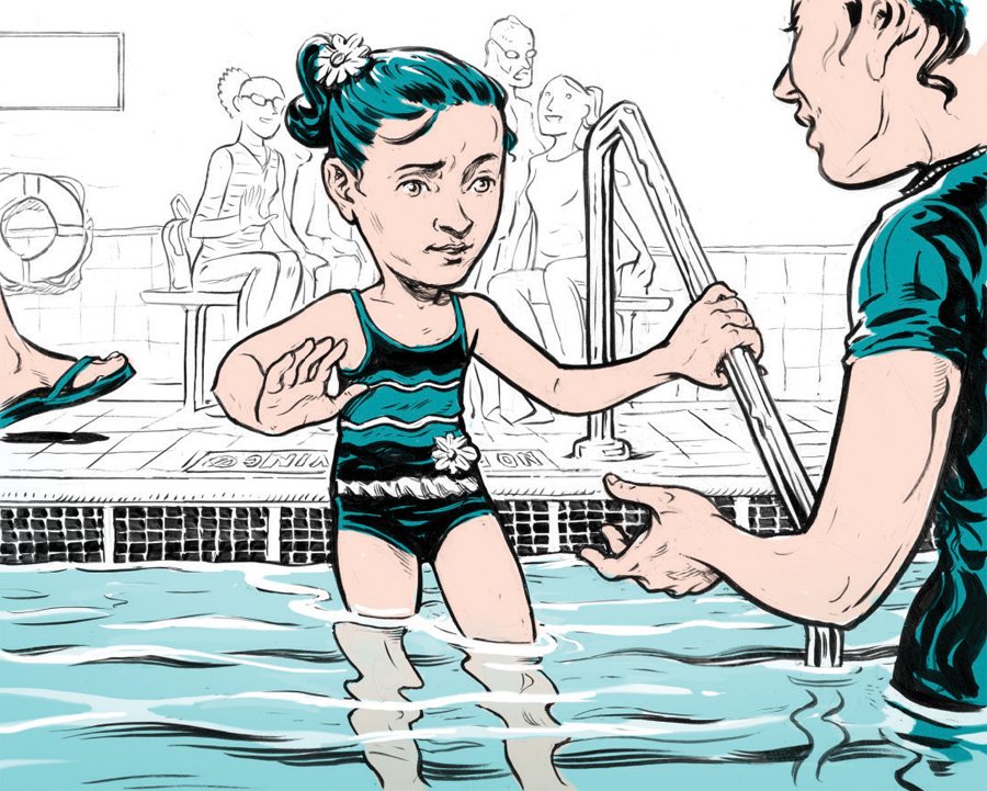 An illustration of a hesitantly getting into a pool.