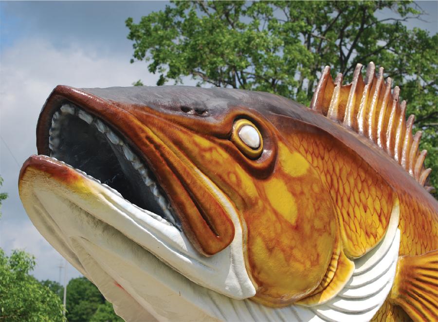 The 15-foot-long fiberglass walleye statue in Garrison, Minnesota.