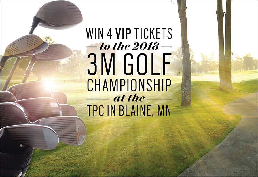 """Photo of golf clubs and golf course with text, """"Win 4 VIP tickets to the 2018 3M golf Championship at the TPC in Blaine, MN"""""""