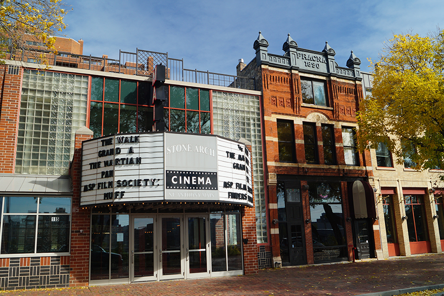 The exterior of the St. Anthony Main Theatre, the home of the Minneapolis-St. Paul International Film Festival.