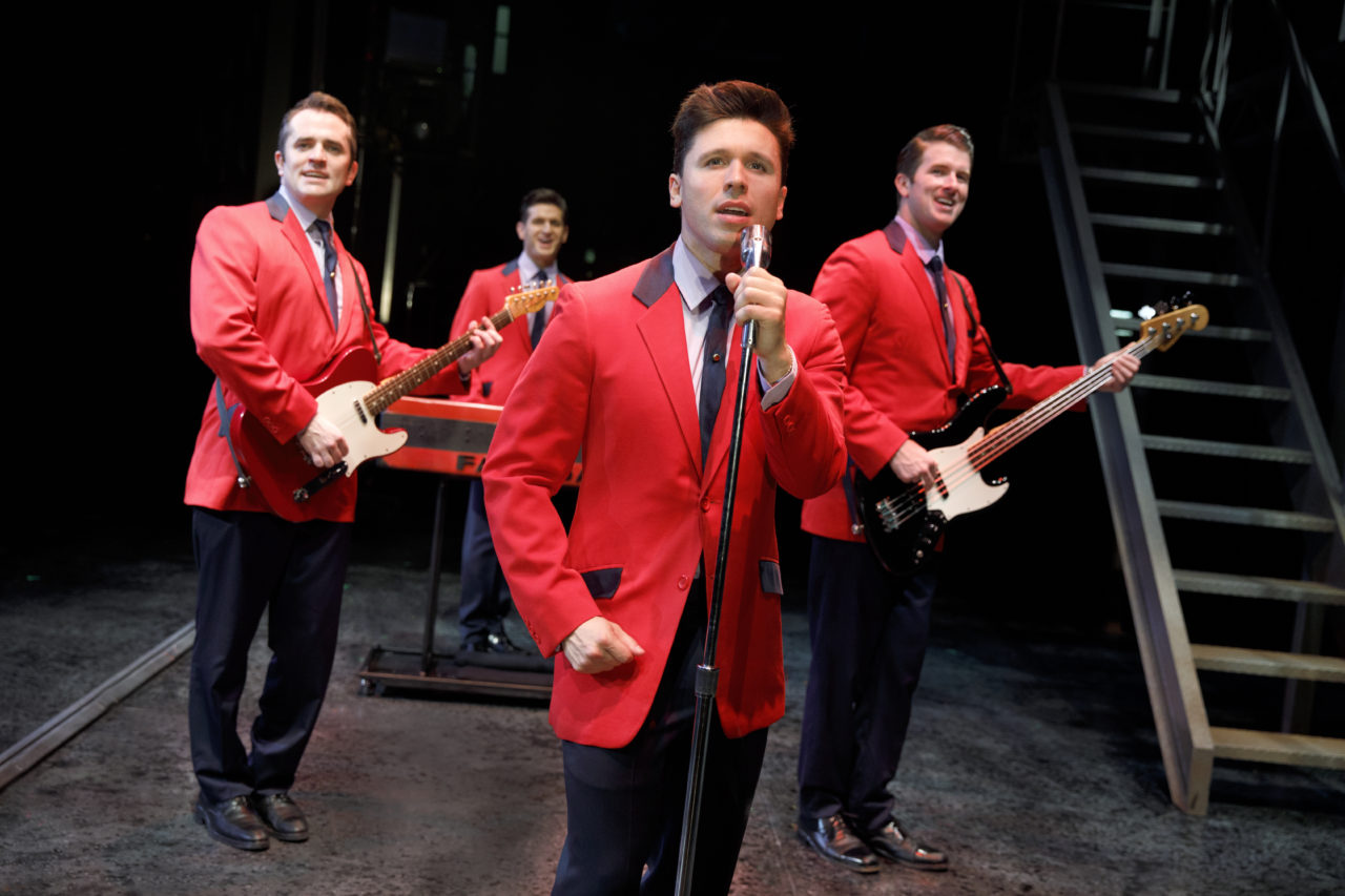 Corey Greenan, Tommaso Antico, Jonny Wexler, and Chris Stevens from left to right in the national musical tour of The Jersey Boys. Photo by Joan Marcus, courtesy Hennepin Theatre Trust.