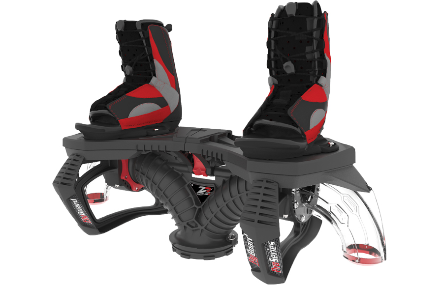 A red and black Flyboard by Zapata.