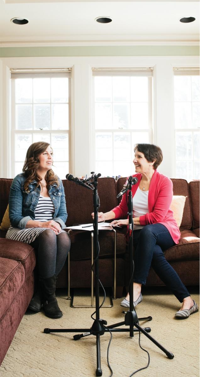 Dr. Marti Erickson and daughter Dr. Erin Erickson recording their podcast Mom Enough.