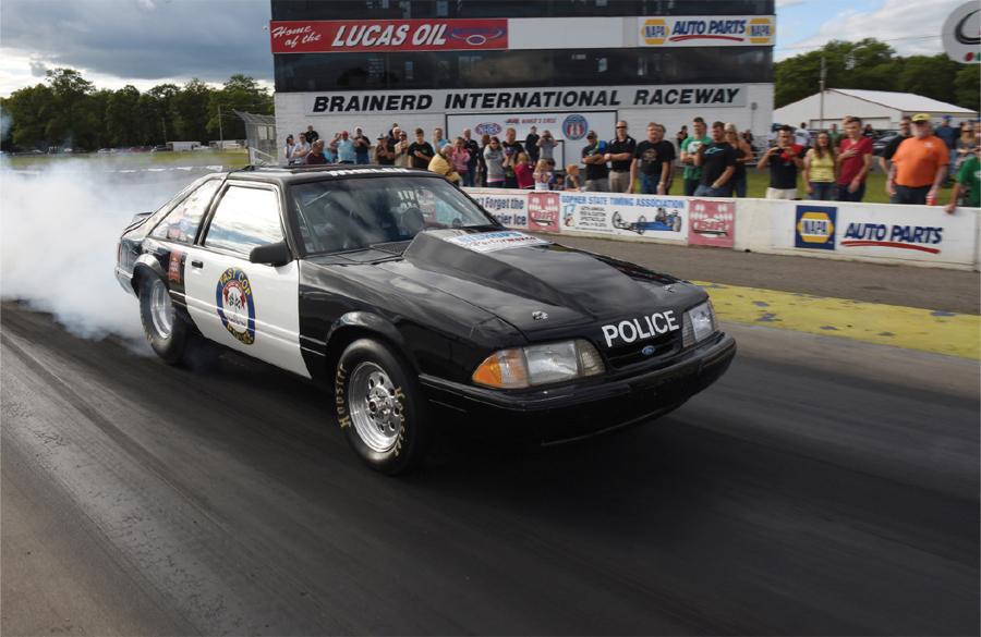 A drag car racing at Brainerd International Raceway during Wednesday night drags.
