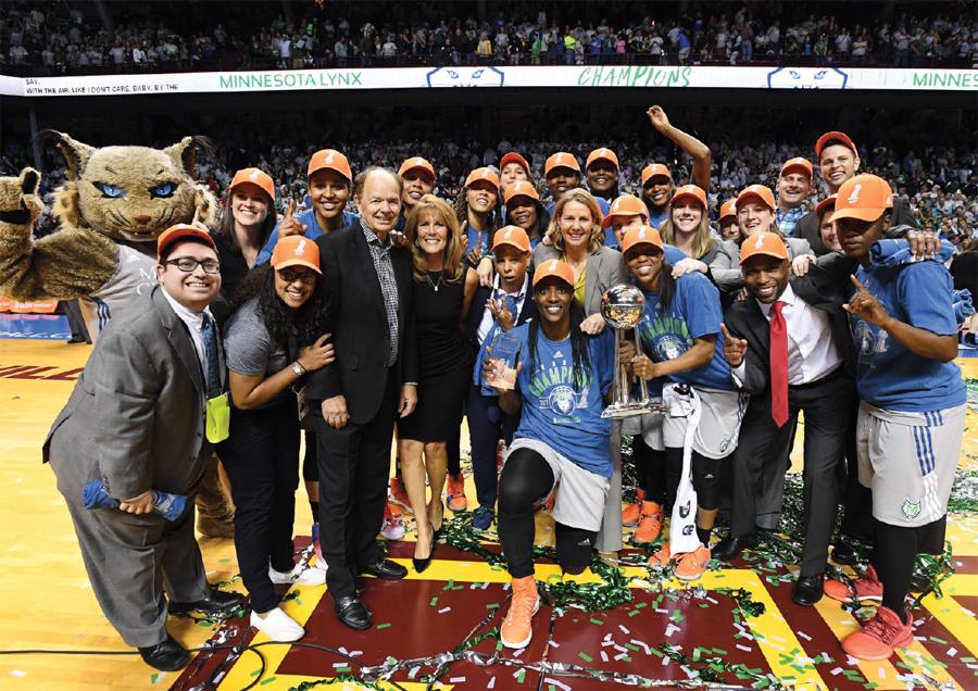 A team photo of the Minnesota Lynx after winning the WNBA Championship.