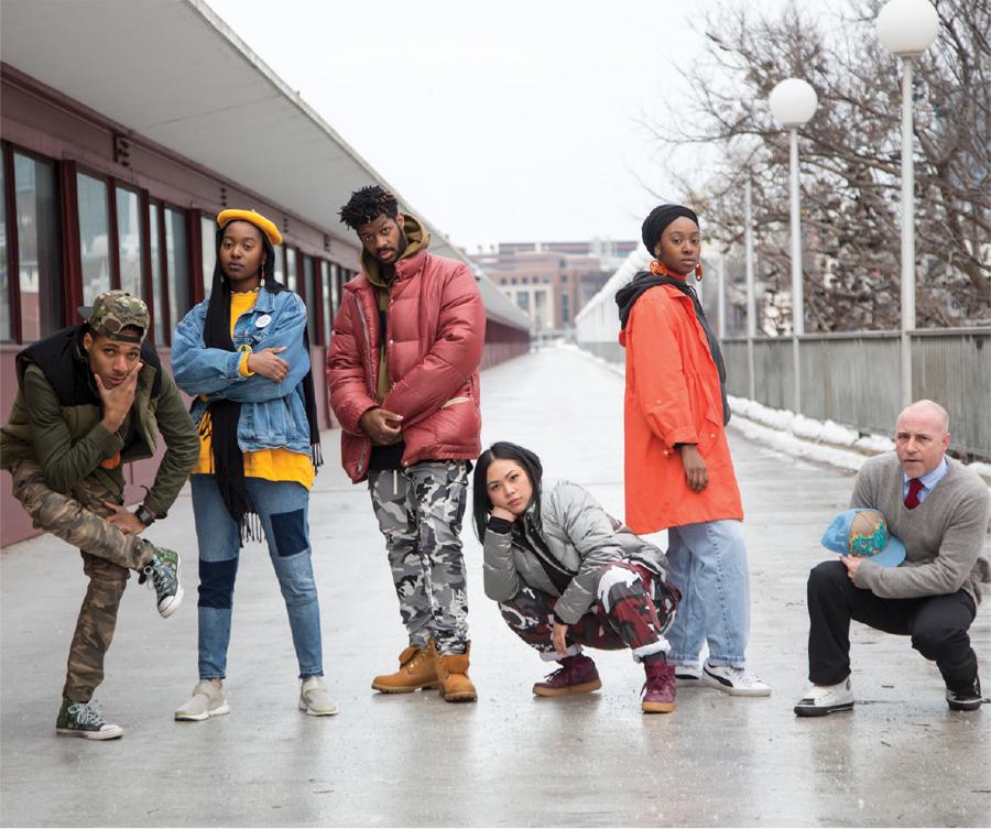 The members of Mixtape Side B posing on the Washington Avenue Bridge.