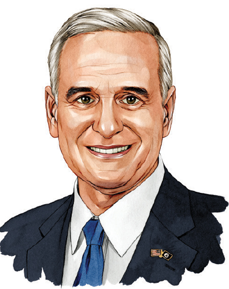 An illustrated portrait of Minnesota Governor Mark Dayton.