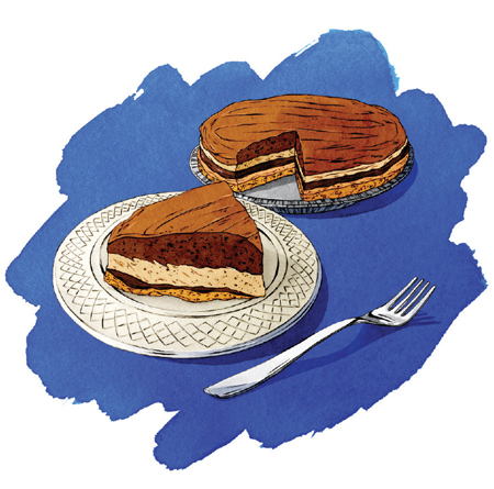 A illustration of the five layer chocolate pie from Betty's Pies.