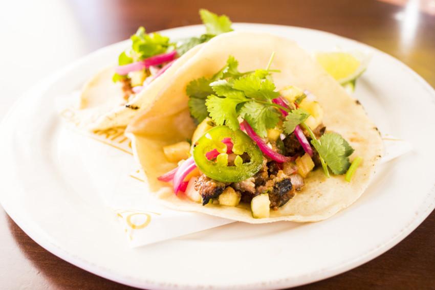 Tacos al pastor at Pajarito, photo courtesy TJ Turner.