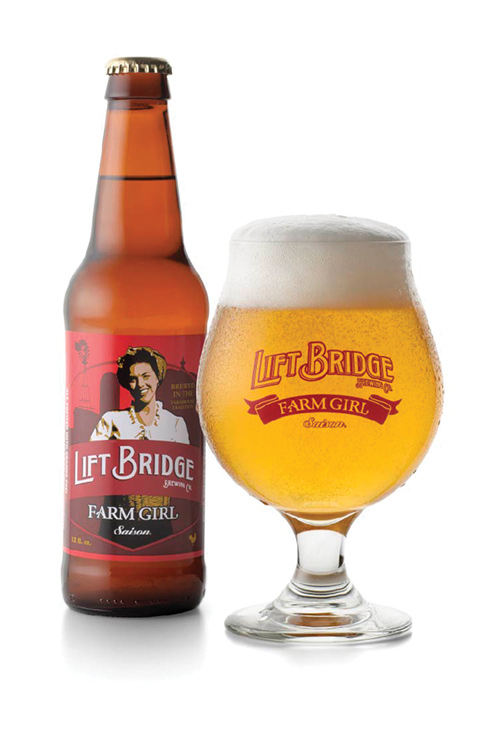 A glass and bottle of beer from Liftbridge Brewing Co. Taproom in Stillwater, Minnesota.