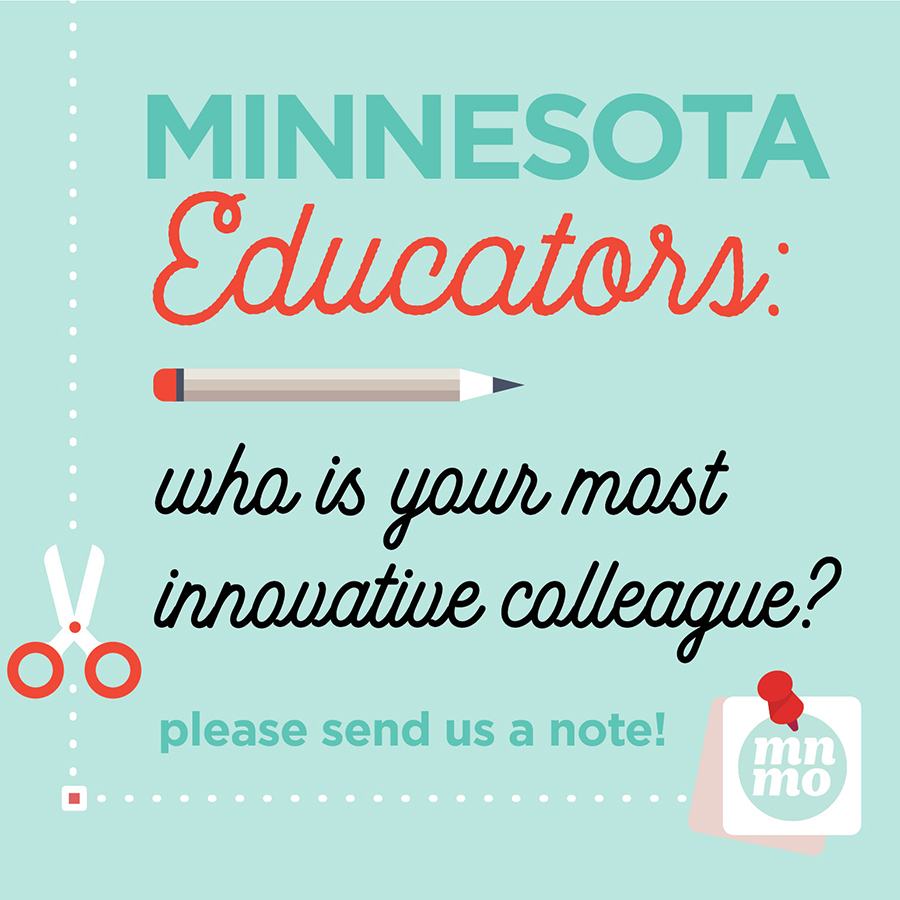 """An illustration displaying """"Minnesota Educators: who is your most innovative colleague?"""" alongside a pencil, scissors and paper."""