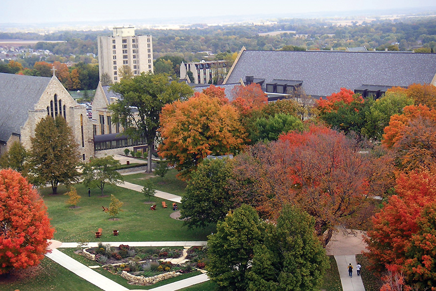 An aerial view of St. Olaf College.