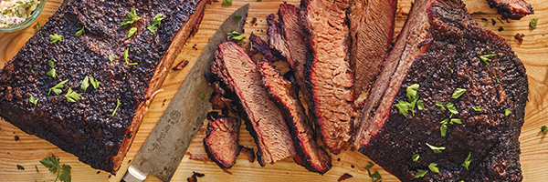 Surly Brewing Co.'s brisket on a cutting, part of the best barbecue in Minnesota.