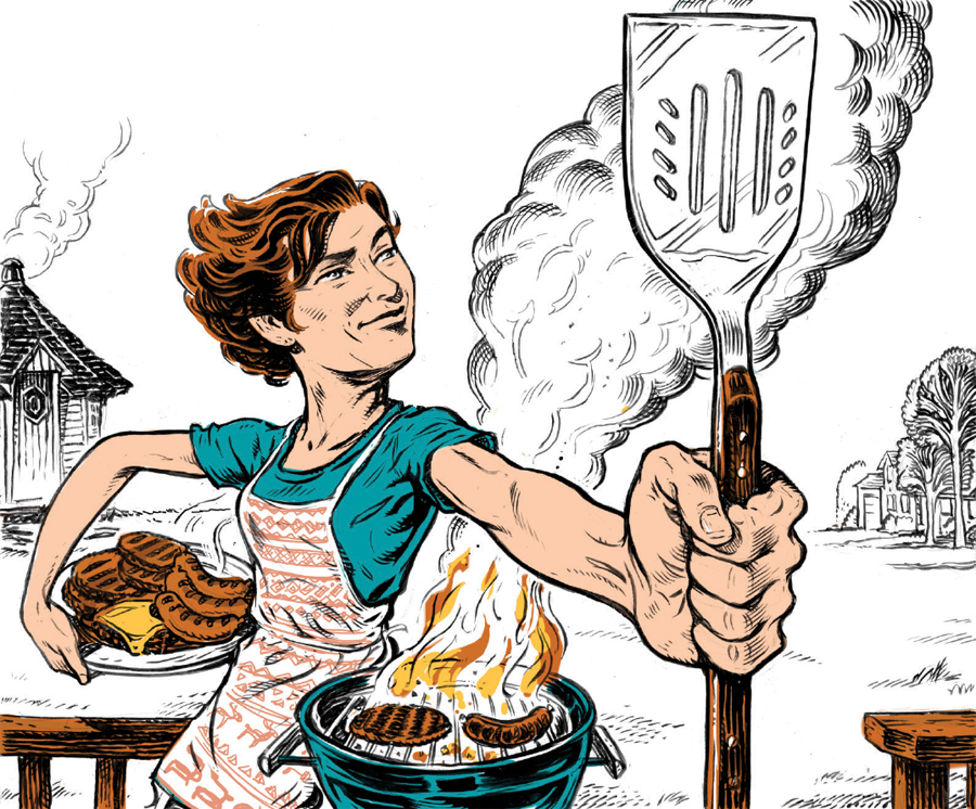 An illustration of a women holding a spatula over a smoking grill.
