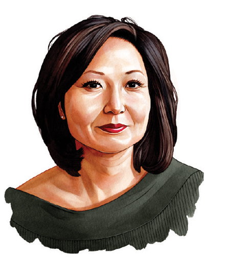 An illustrated portrait of Ann Kim, owner of Pizzeria Lola and Young Joni.