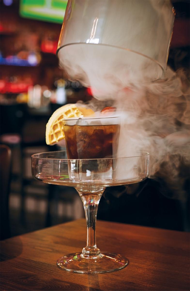 Maple Old Fashioned Smoking Gun cocktail at Brick & Bourbon in Stillwater, Minnesota.